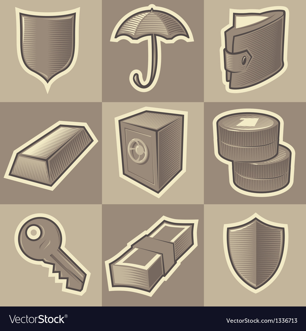 Monochrome security icons vector | Price: 1 Credit (USD $1)