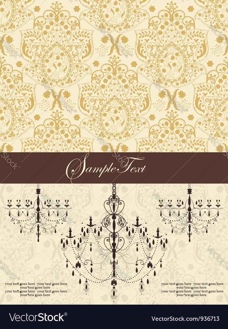 Vintage damask invitation card with chandelier vector | Price: 1 Credit (USD $1)