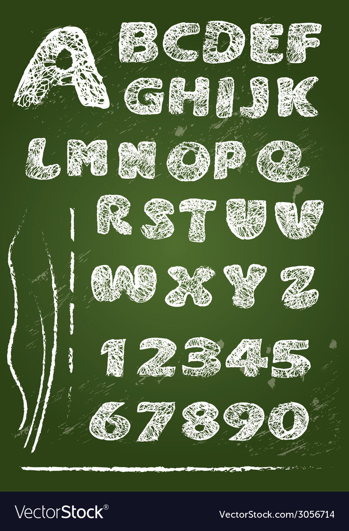 Abc - english alphabet written on a blackboard vector | Price: 1 Credit (USD $1)