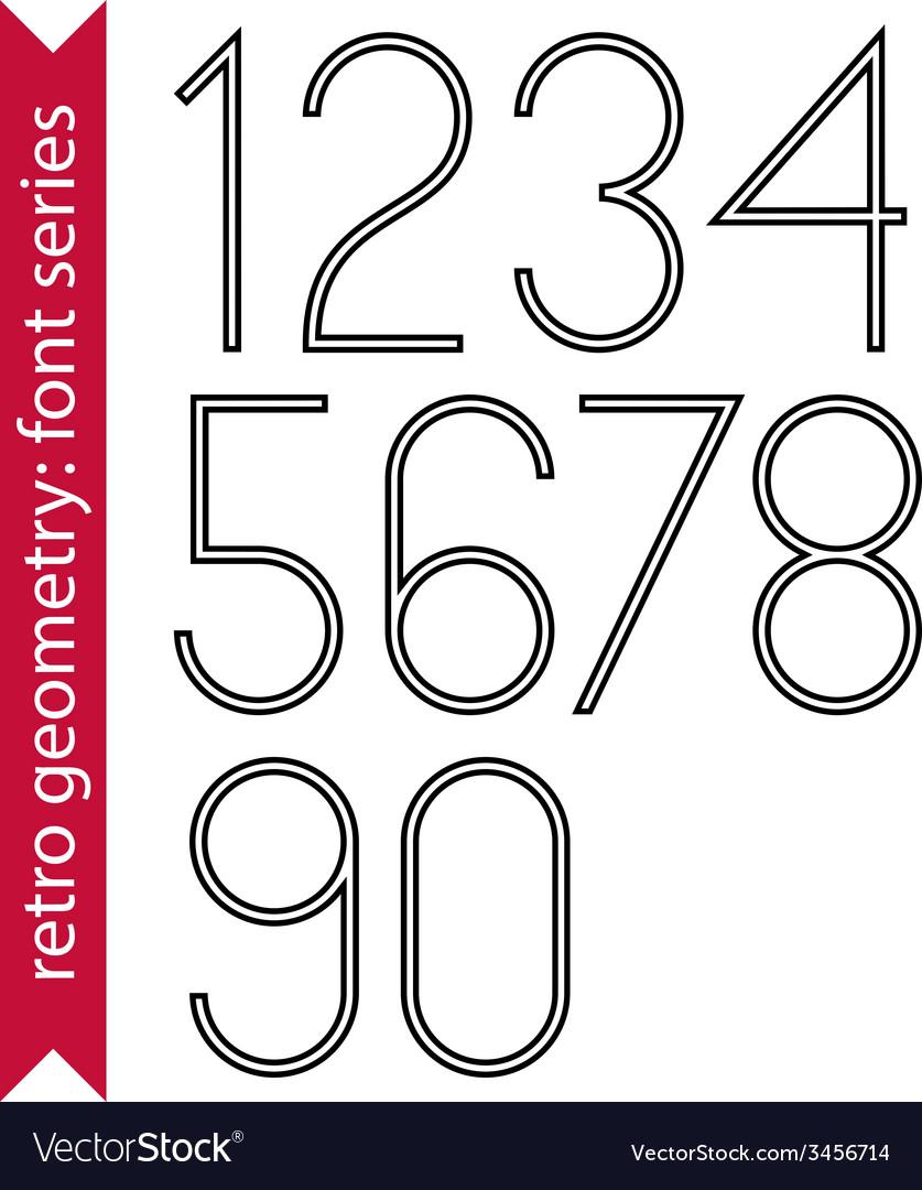 Black slim numbers single color delicate digits vector | Price: 1 Credit (USD $1)