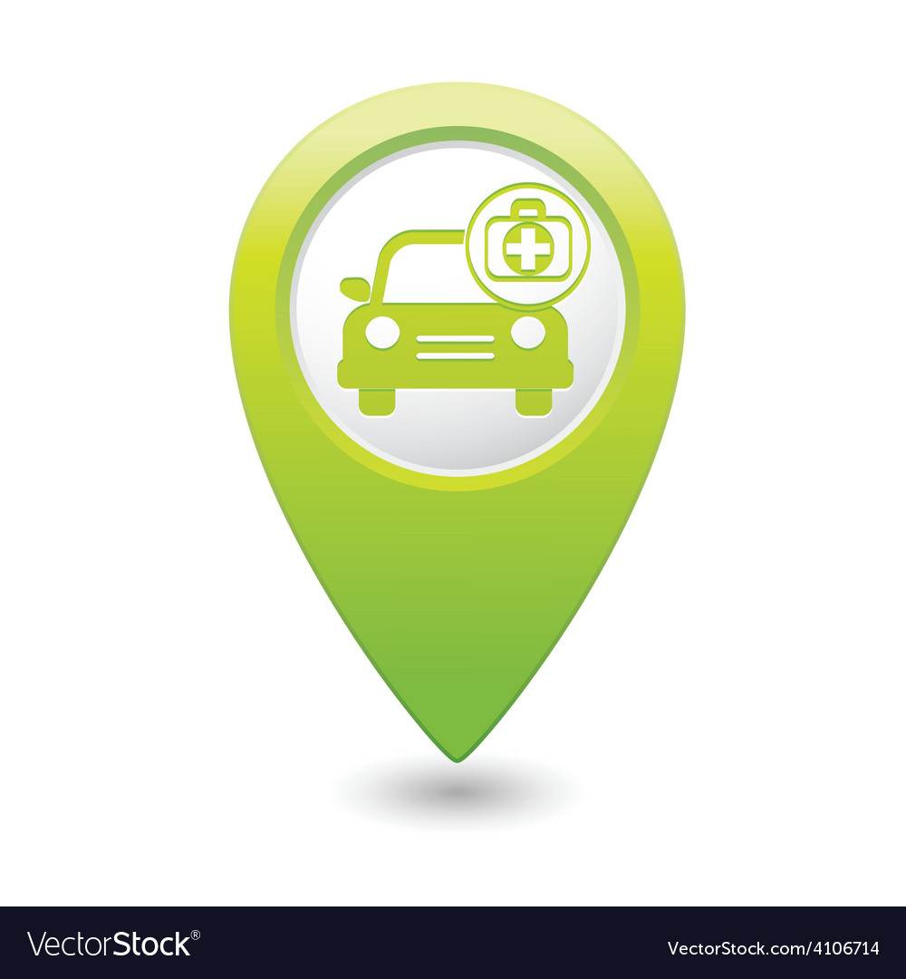 Cars first aid kit green map pointer vector | Price: 1 Credit (USD $1)