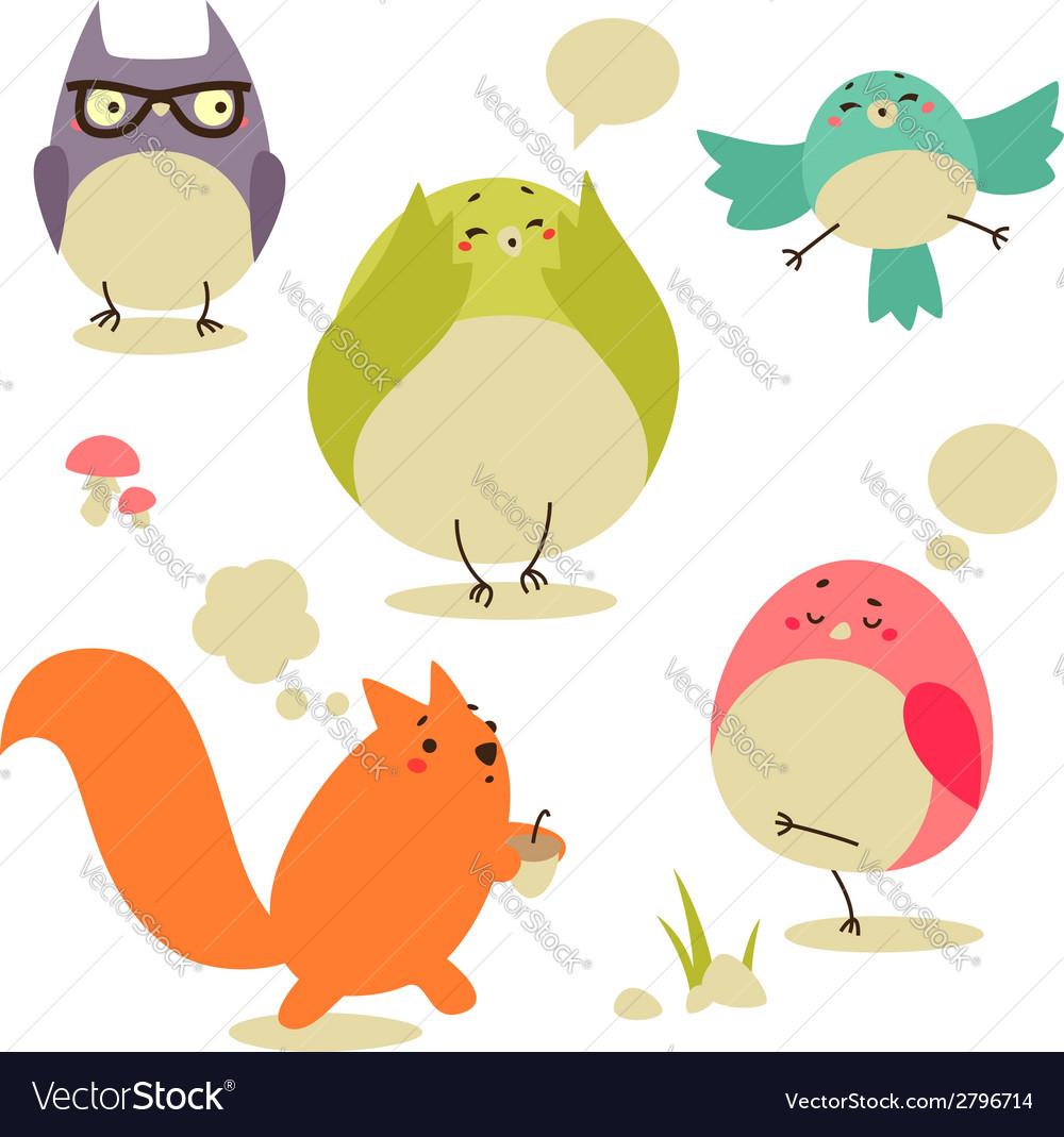 Cartoon birds set vector | Price: 1 Credit (USD $1)