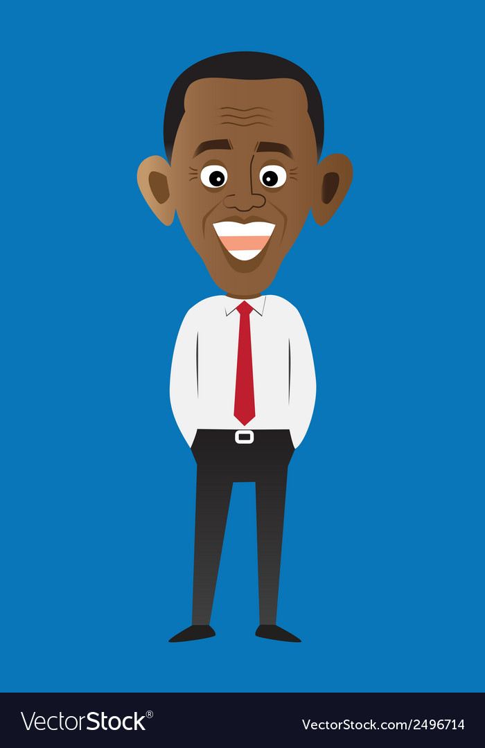 Cartoon style president obama vector | Price: 1 Credit (USD $1)