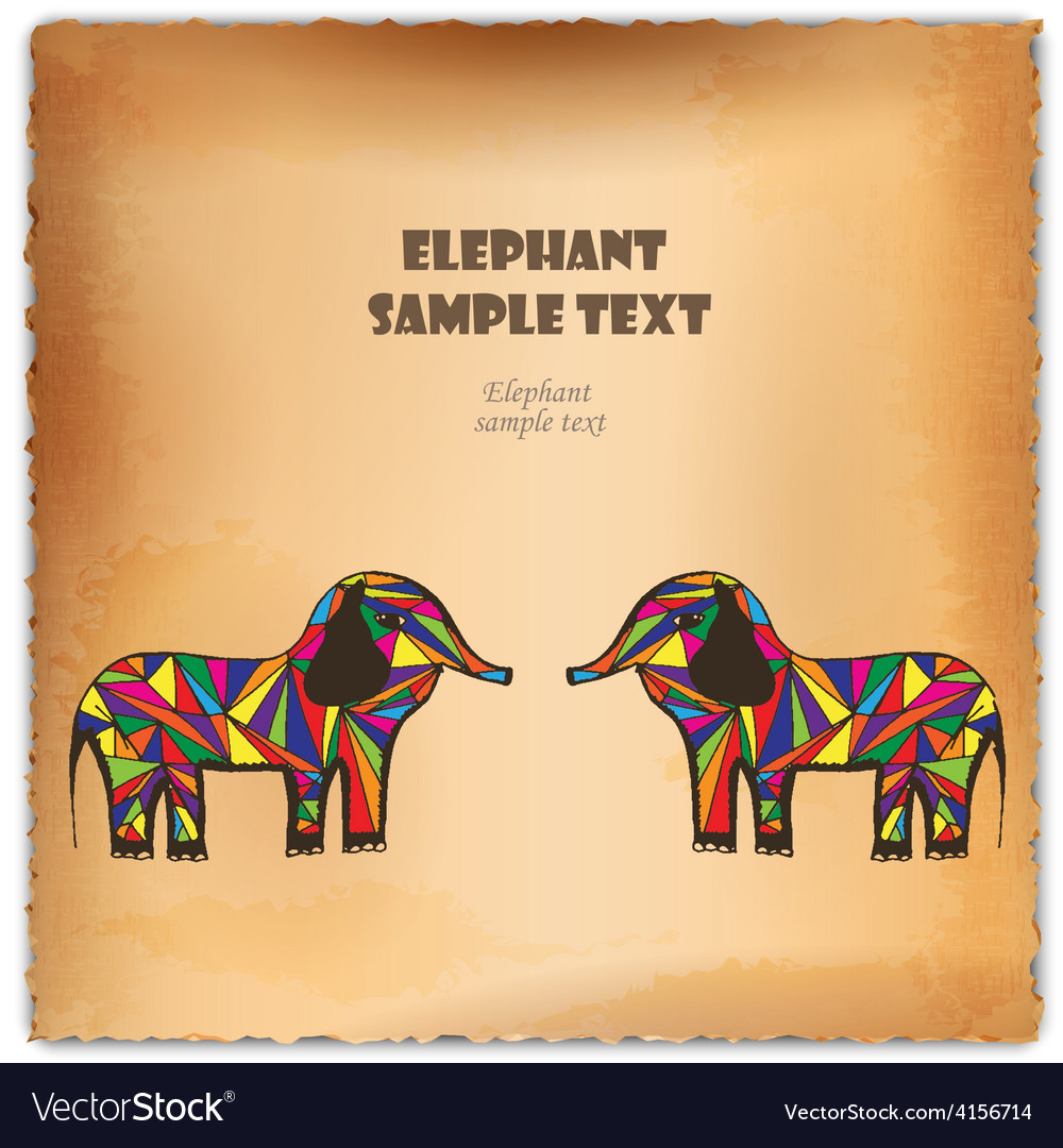 Colorful hand-drawn elephant on parchment vector | Price: 1 Credit (USD $1)