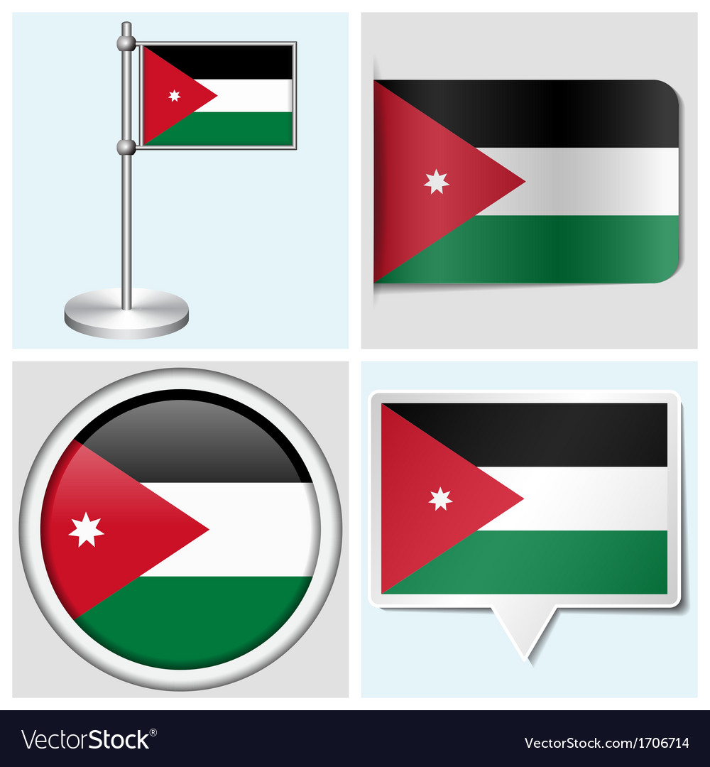 Jordan flag - sticker button label flagstaff vector | Price: 1 Credit (USD $1)