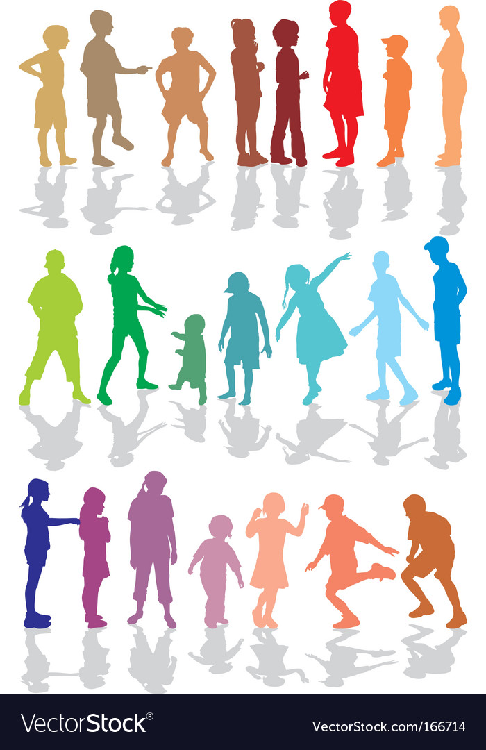Kids color silhouettes vector | Price: 1 Credit (USD $1)