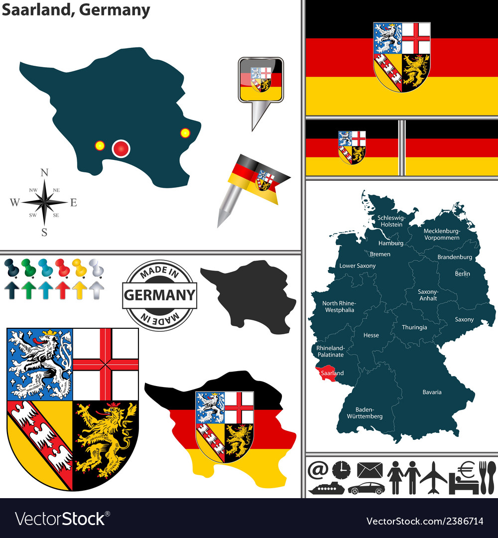 Map of saarland vector | Price: 1 Credit (USD $1)