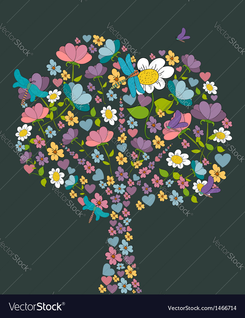Spring tree flower shape vector | Price: 1 Credit (USD $1)