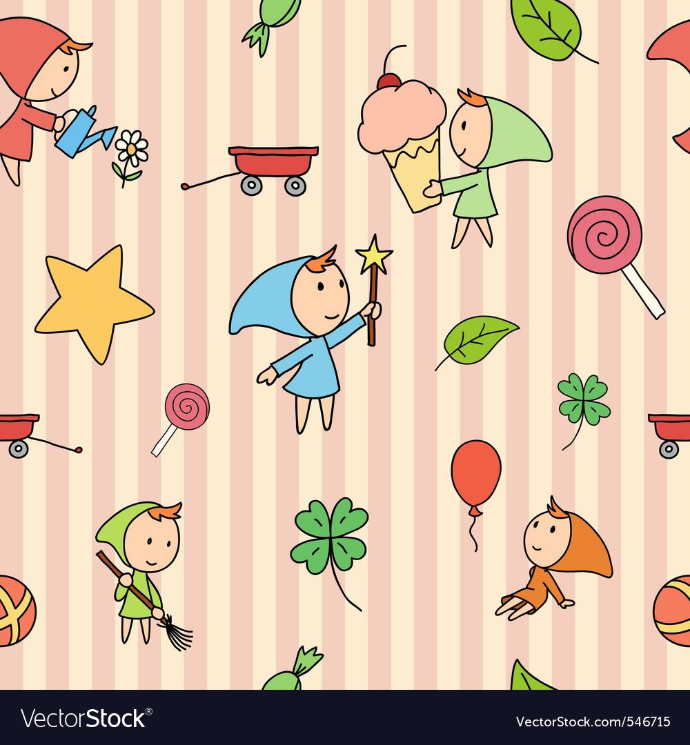 Children fairy pattern vector | Price: 1 Credit (USD $1)