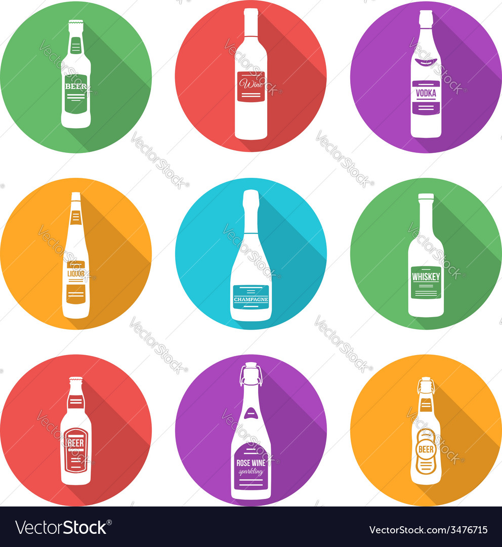 Flat style white silhouettes alcohol bottles icons vector | Price: 1 Credit (USD $1)