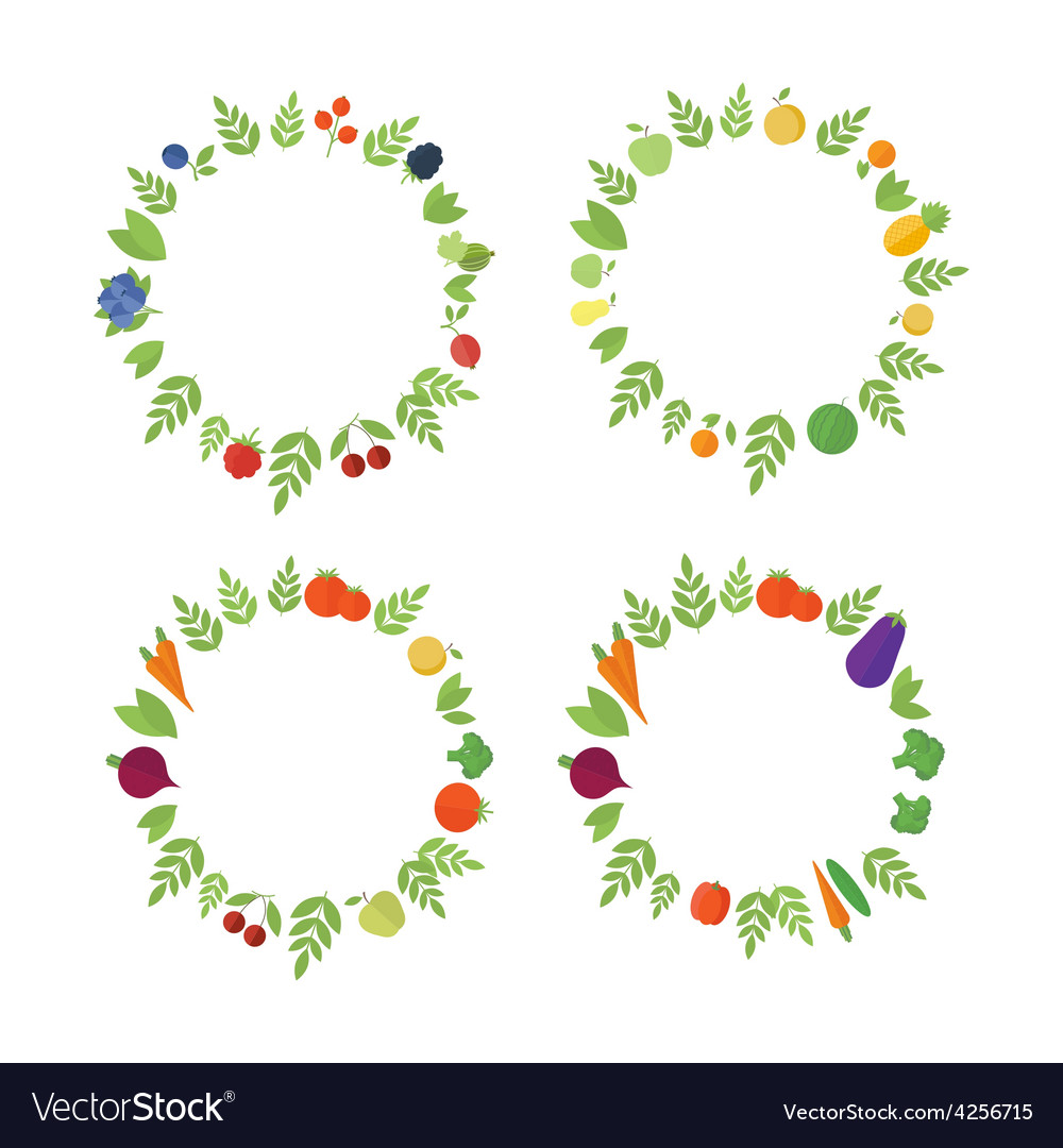 Frames with fruits and vegetables vector | Price: 1 Credit (USD $1)