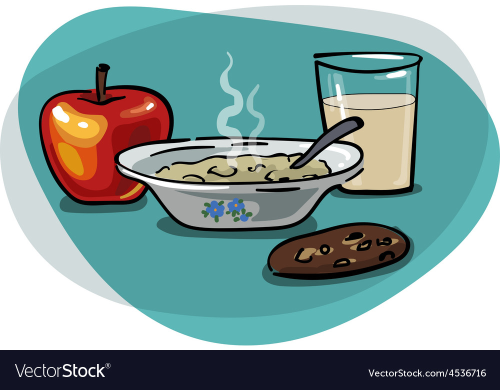 Breakfast with oatmeal and apple vector | Price: 1 Credit (USD $1)