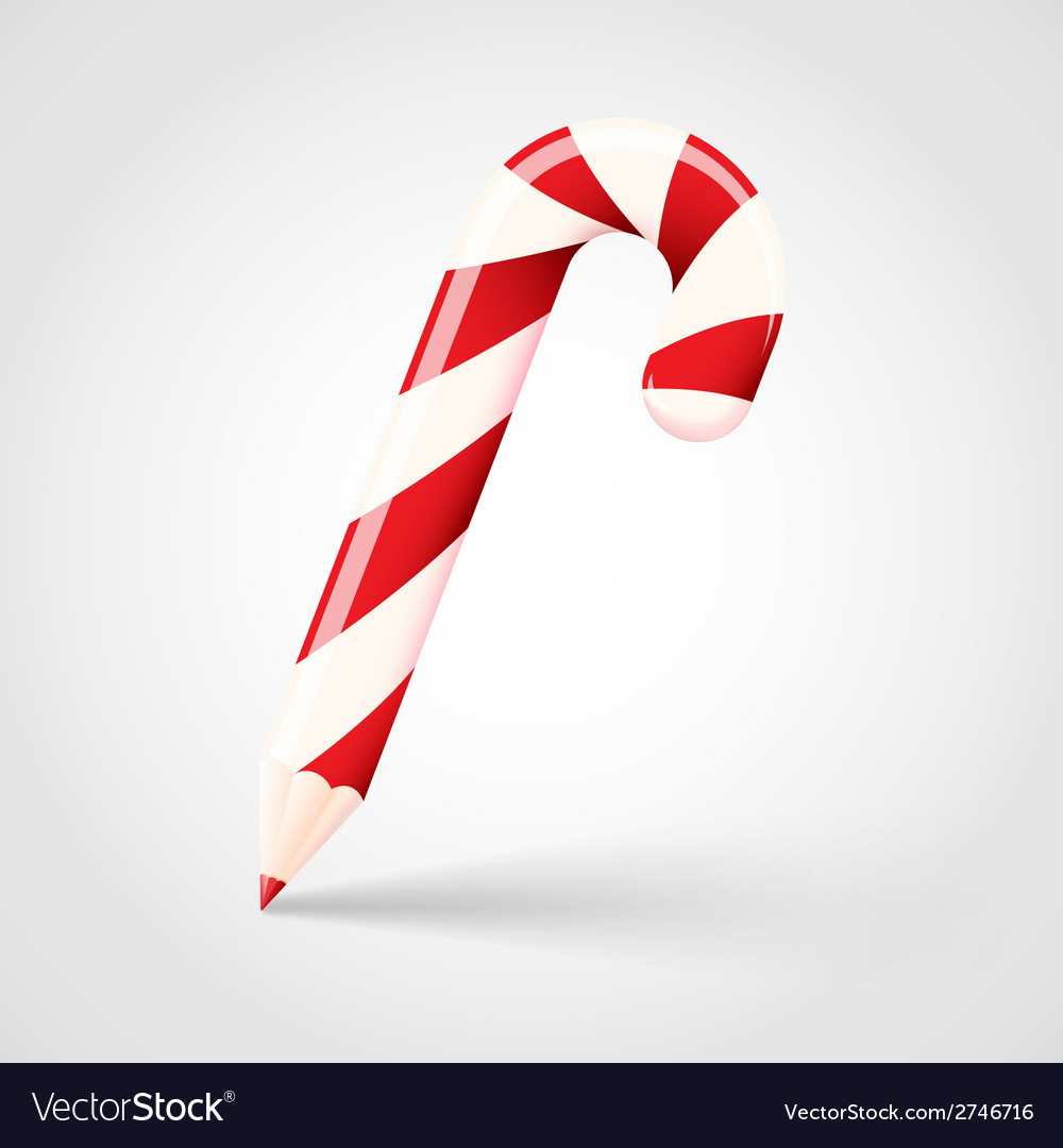 Candy cane pencil abstract christmas concept vector | Price: 1 Credit (USD $1)