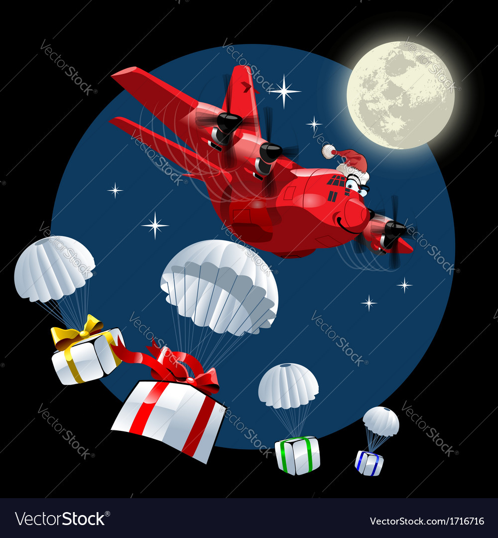 Cartoon christmas cargo airplane vector | Price: 1 Credit (USD $1)