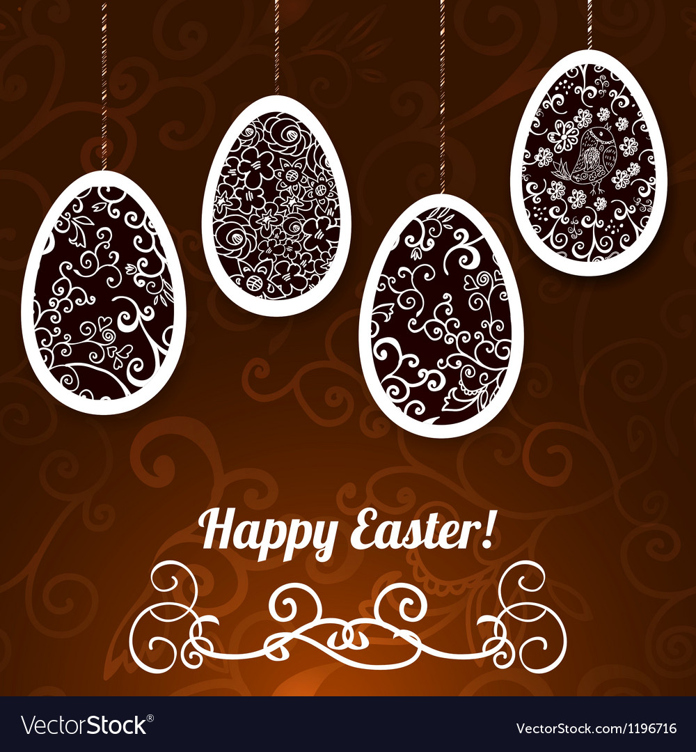 Chocolate easter background with eggs vector | Price: 1 Credit (USD $1)