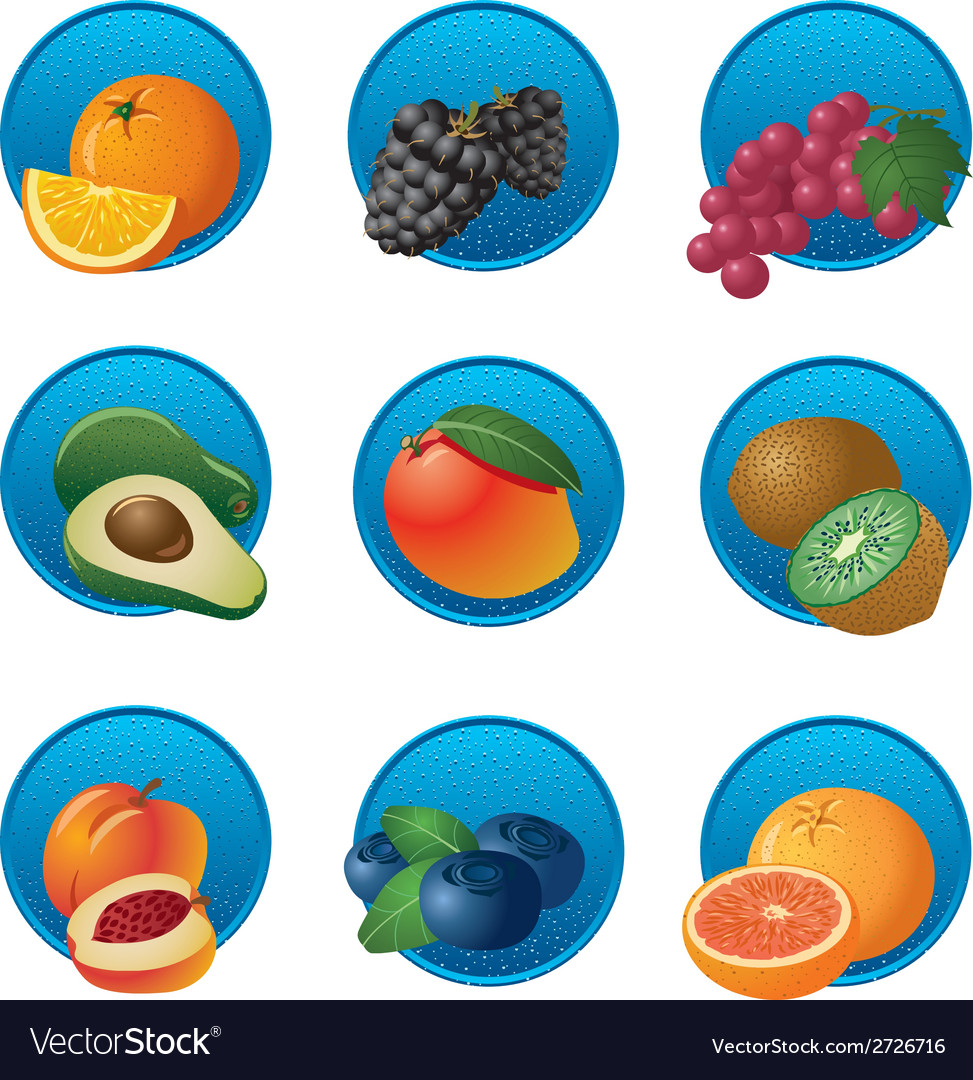 Fruits and berries icon set vector | Price: 1 Credit (USD $1)