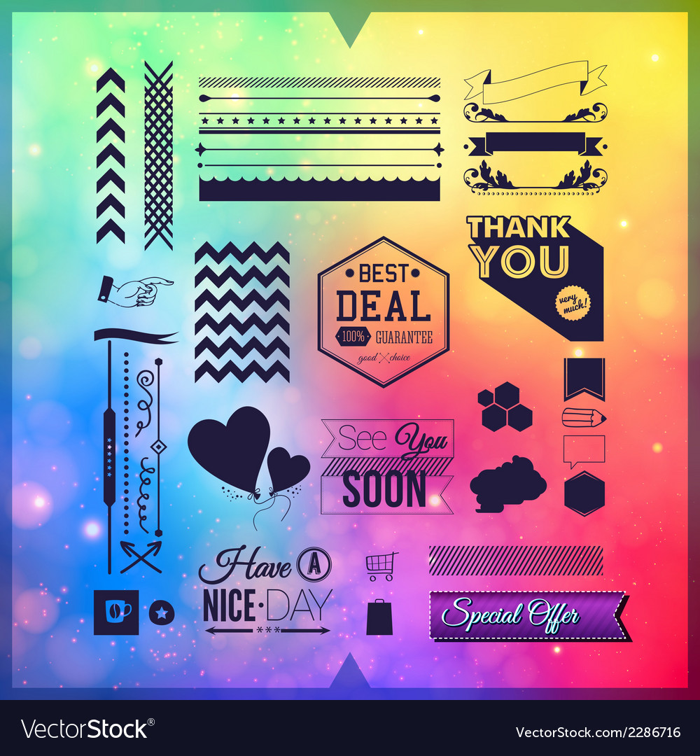 Set of universal icons borders and elements for vector | Price: 1 Credit (USD $1)