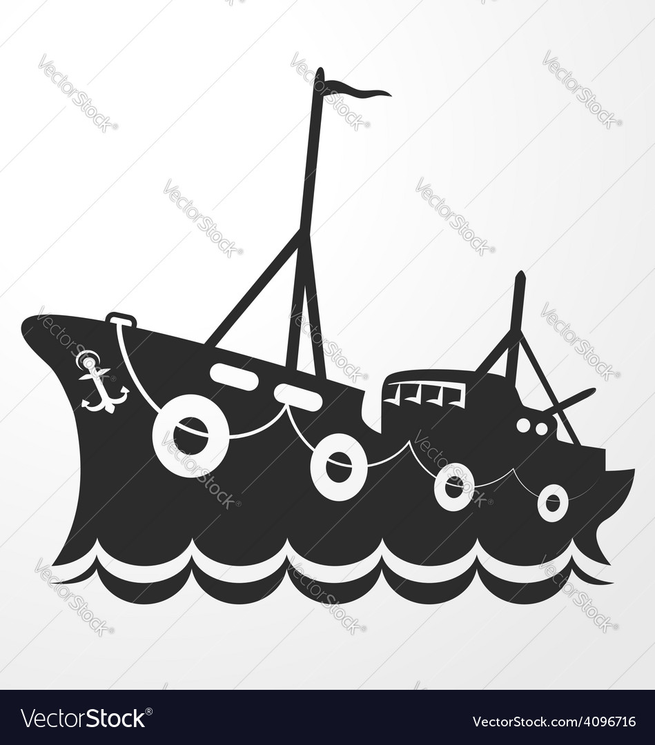 Silhouette fishing vessel vector | Price: 1 Credit (USD $1)