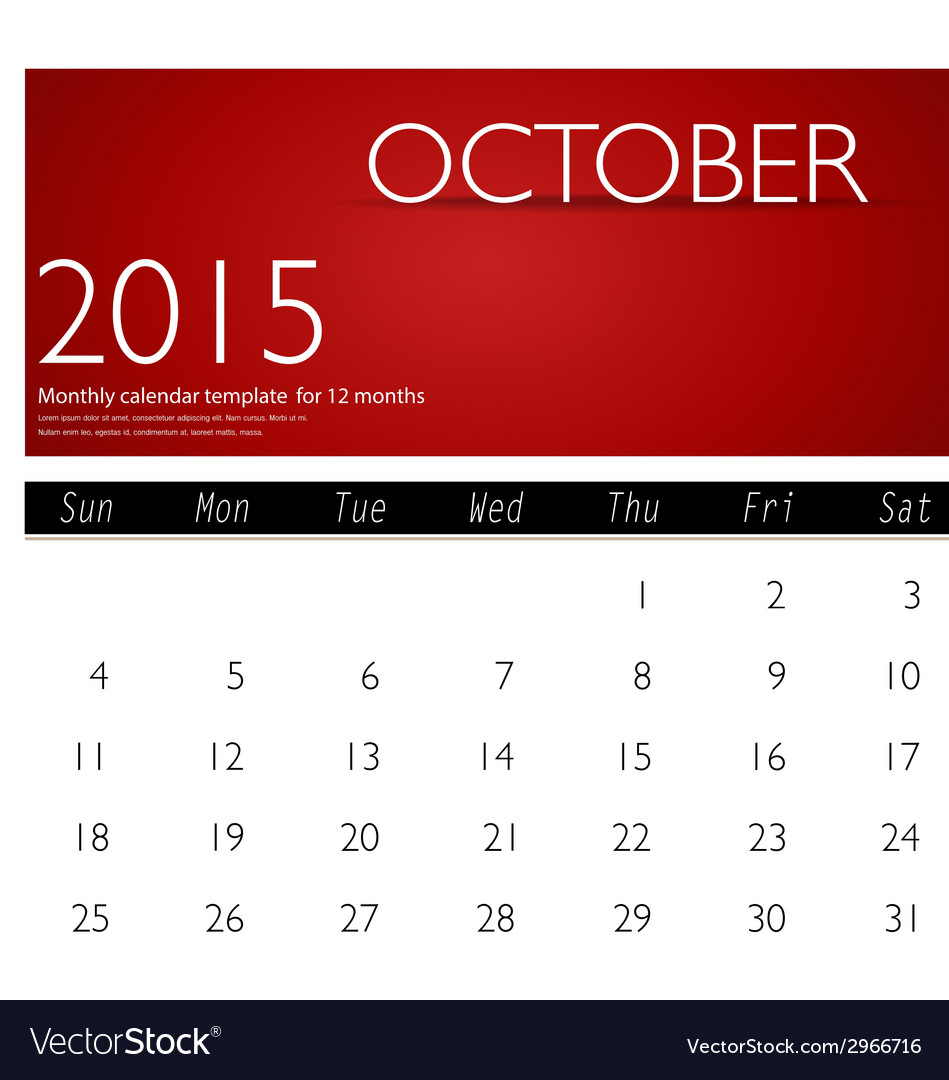 Simple 2015 calendar october vector | Price: 1 Credit (USD $1)
