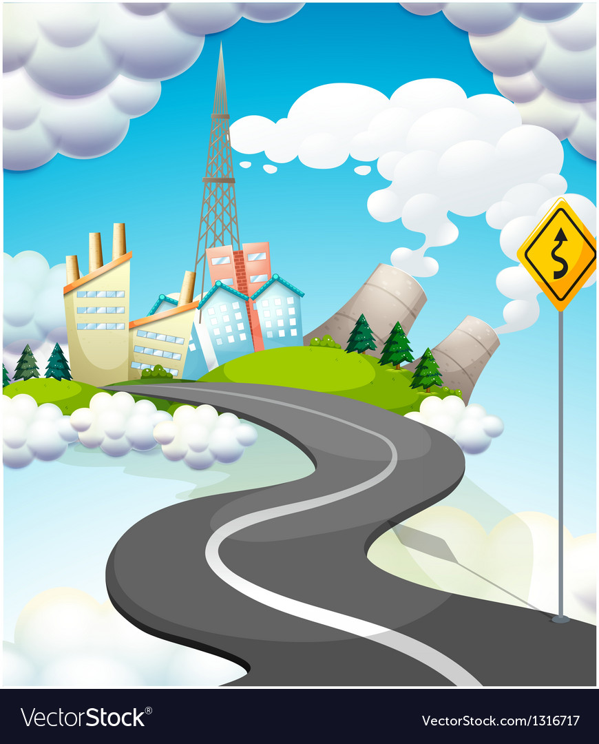 A curve road with a yellow signage vector | Price: 1 Credit (USD $1)