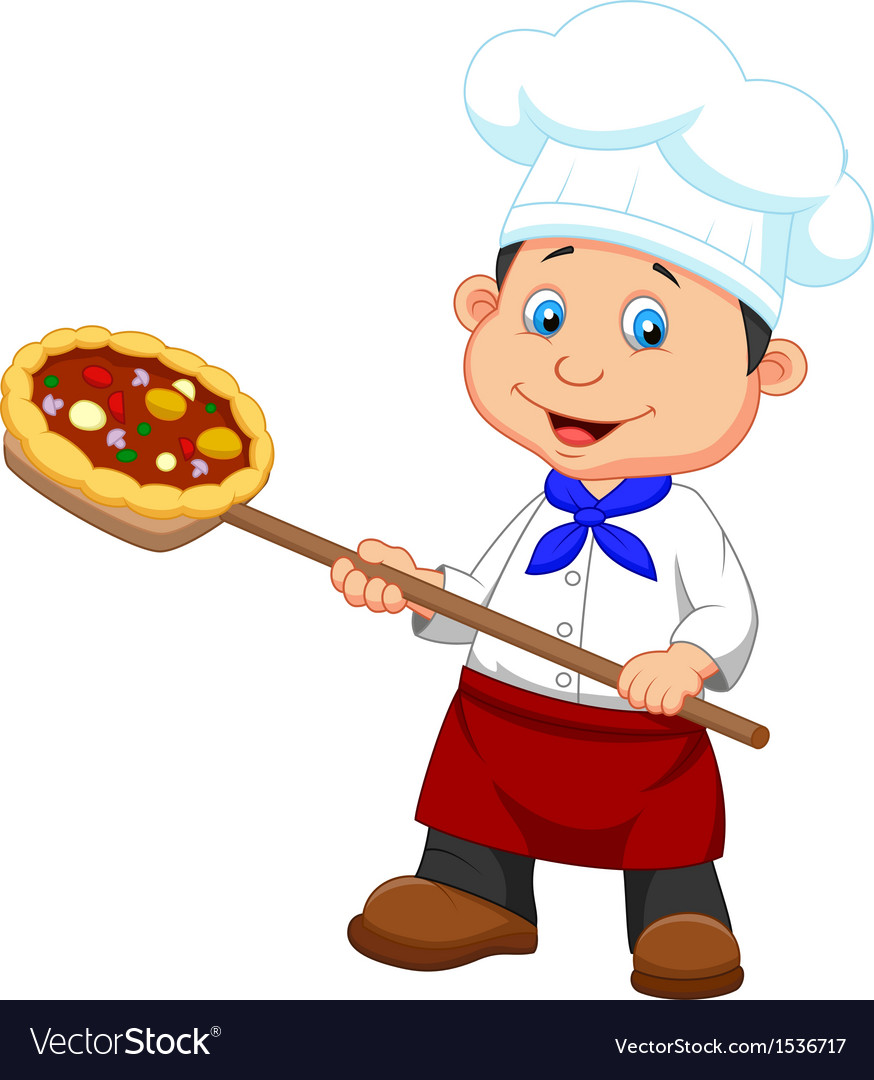 Cartoon a baker with pizza vector | Price: 1 Credit (USD $1)