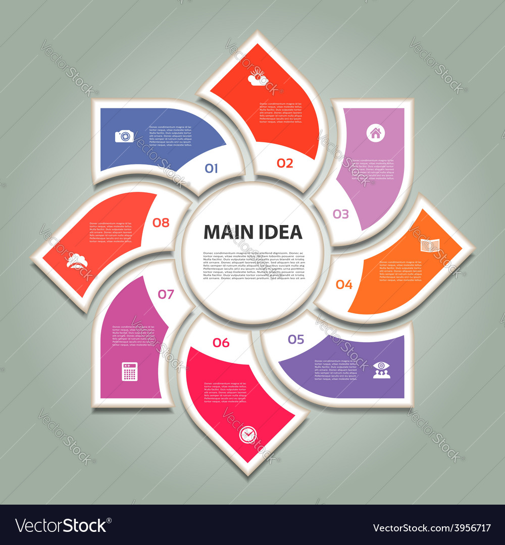 Cyclic diagram with eight steps and icons eps 10 vector | Price: 1 Credit (USD $1)