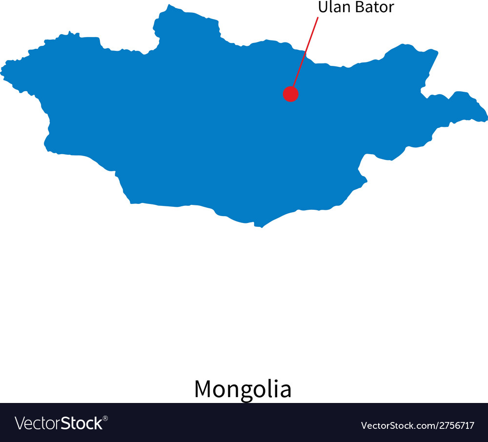 Detailed map of mongolia and capital city ulan vector | Price: 1 Credit (USD $1)