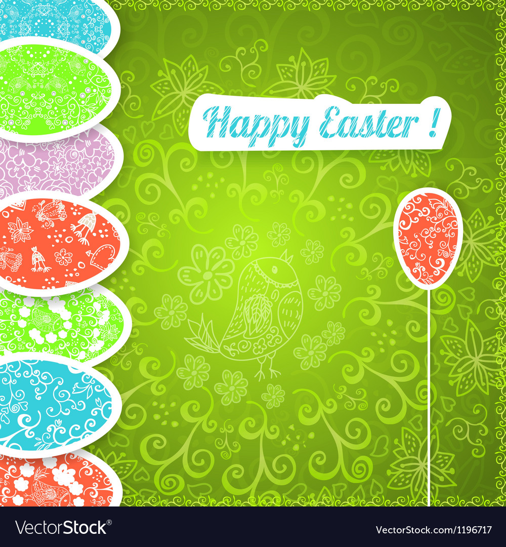 Easter green background with ornament eggs vector | Price: 1 Credit (USD $1)