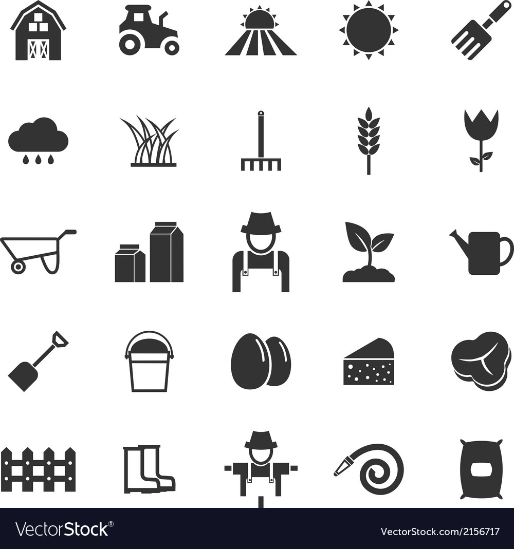 Farming icons on white background vector | Price: 1 Credit (USD $1)