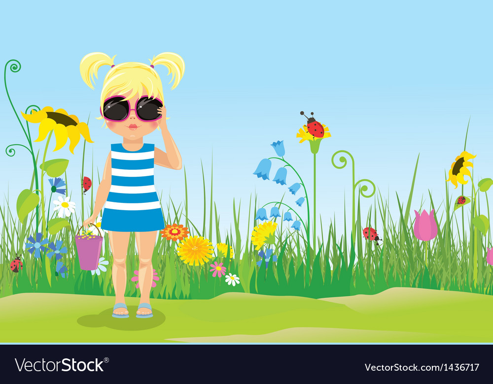 Girl in glasses on the lawn vector | Price: 3 Credit (USD $3)