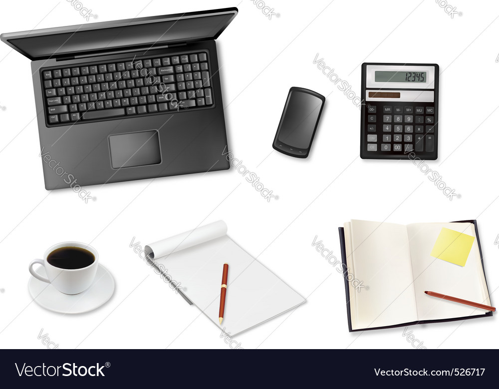 Laptop and coffee and notepad telephone vector | Price: 3 Credit (USD $3)