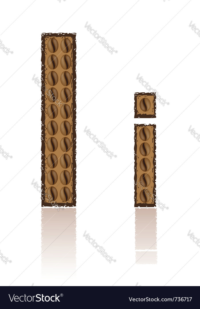 Letter i is made grains of coffee isolated on whit vector | Price: 1 Credit (USD $1)