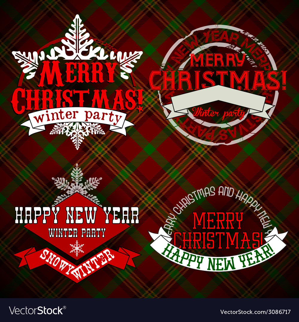 Merry christmas and happy new year emblems vector | Price: 1 Credit (USD $1)