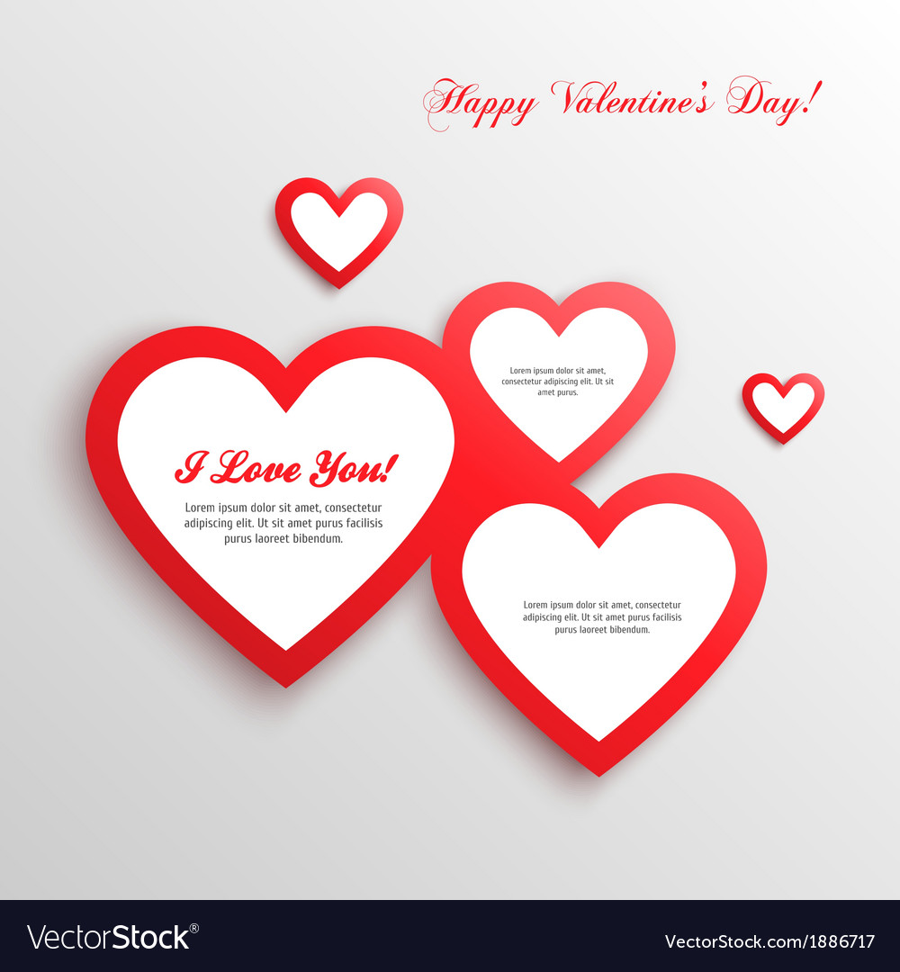 Red hearts valentines day card vector | Price: 1 Credit (USD $1)