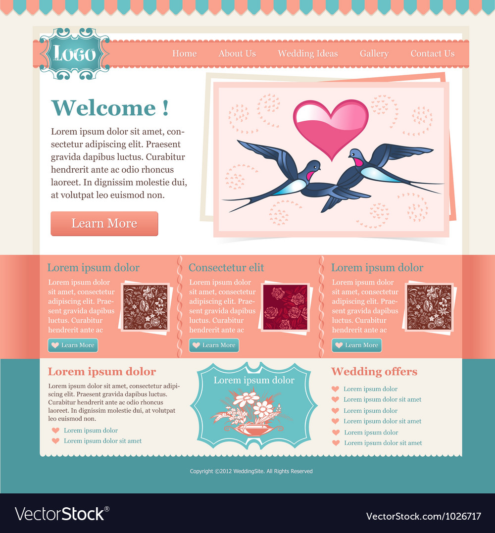 Wedding site template vector | Price: 3 Credit (USD $3)