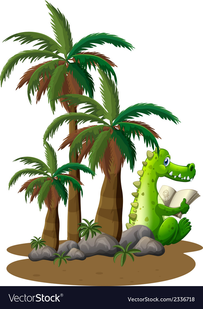 A crocodile reading near the coconut trees vector | Price: 1 Credit (USD $1)