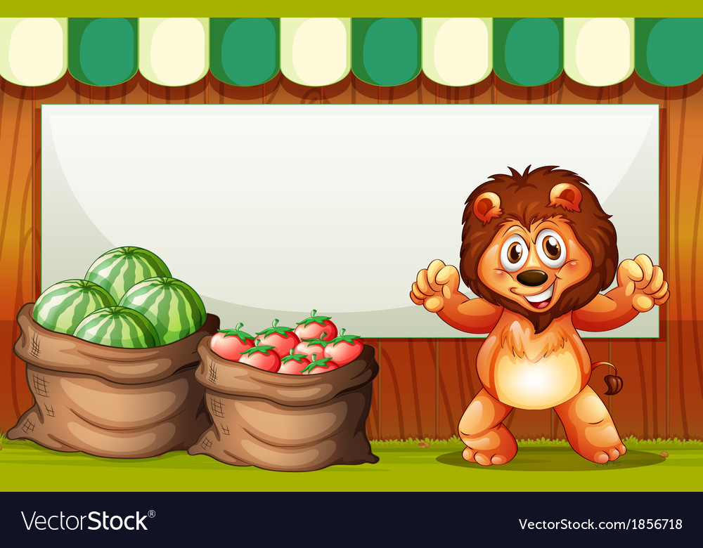 A happy lion selling fruits with an empty template vector | Price: 3 Credit (USD $3)