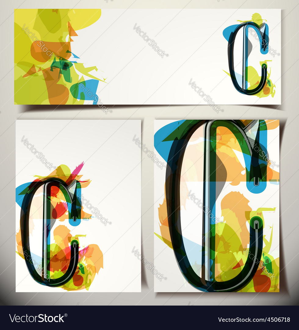 Artistic greeting card letter c vector | Price: 1 Credit (USD $1)
