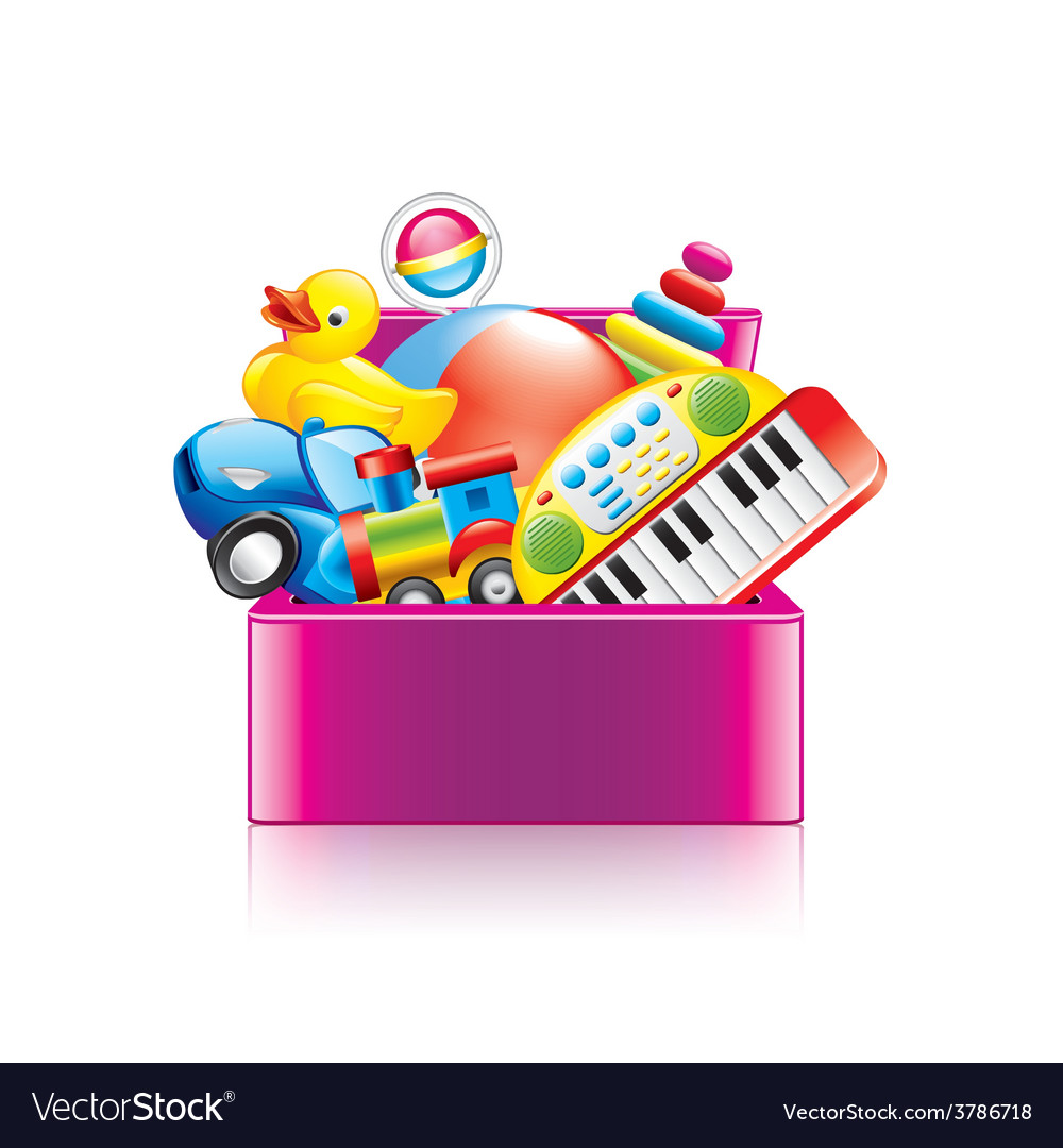 Children toys box isolated vector | Price: 3 Credit (USD $3)
