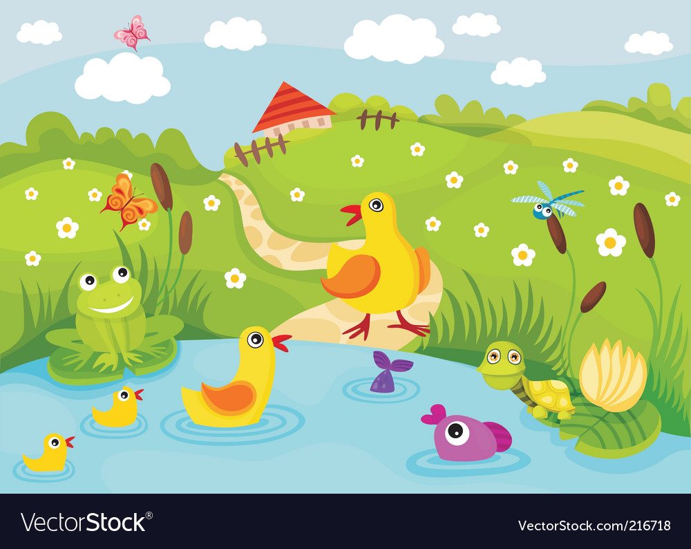 Farm pond vector | Price: 1 Credit (USD $1)