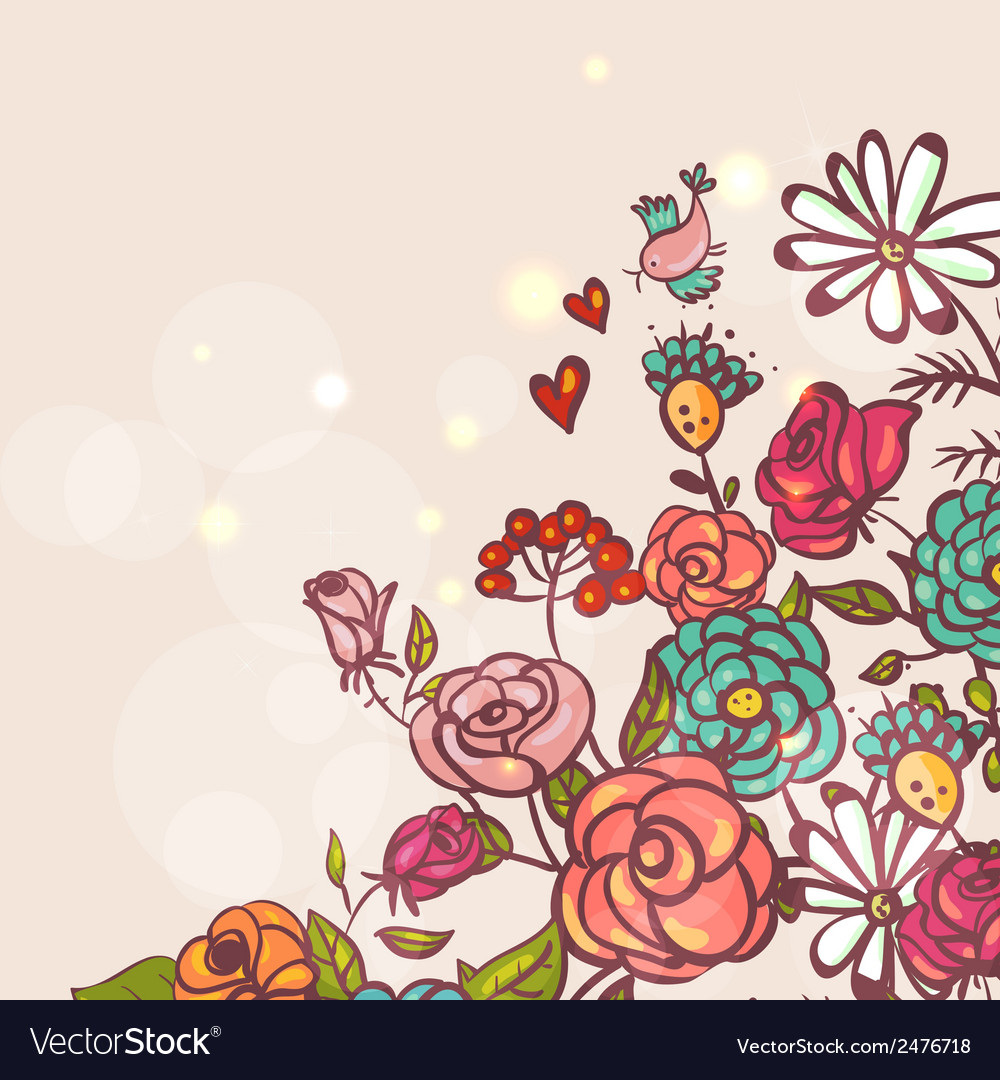 Floral background with roses and birds vector | Price: 1 Credit (USD $1)