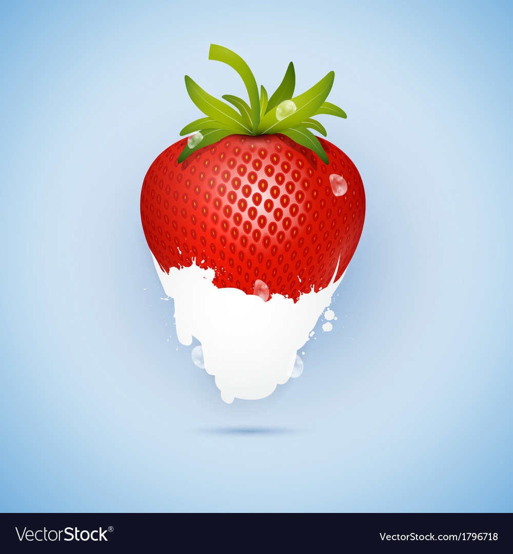 Fresh strawberry dipped in ice cream milk isolated vector | Price: 1 Credit (USD $1)