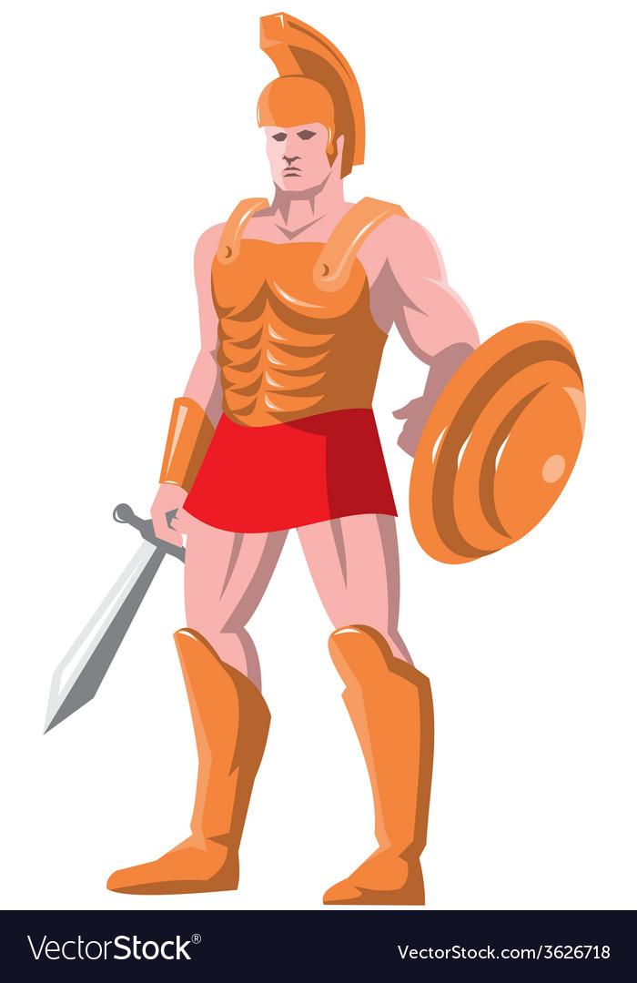 Gladiator roman centurion warrior standing vector   Price: 1 Credit (USD $1)