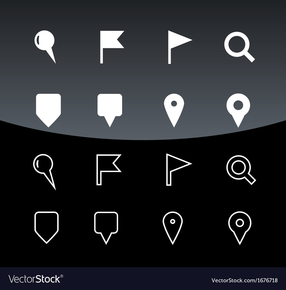 Gps and navigation icons on black background vector | Price: 1 Credit (USD $1)