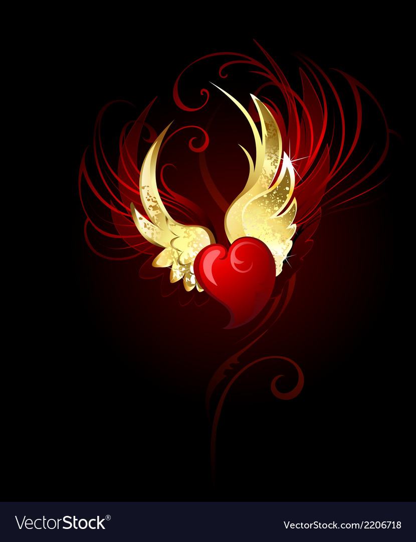 Heart with wings foil vector | Price: 1 Credit (USD $1)