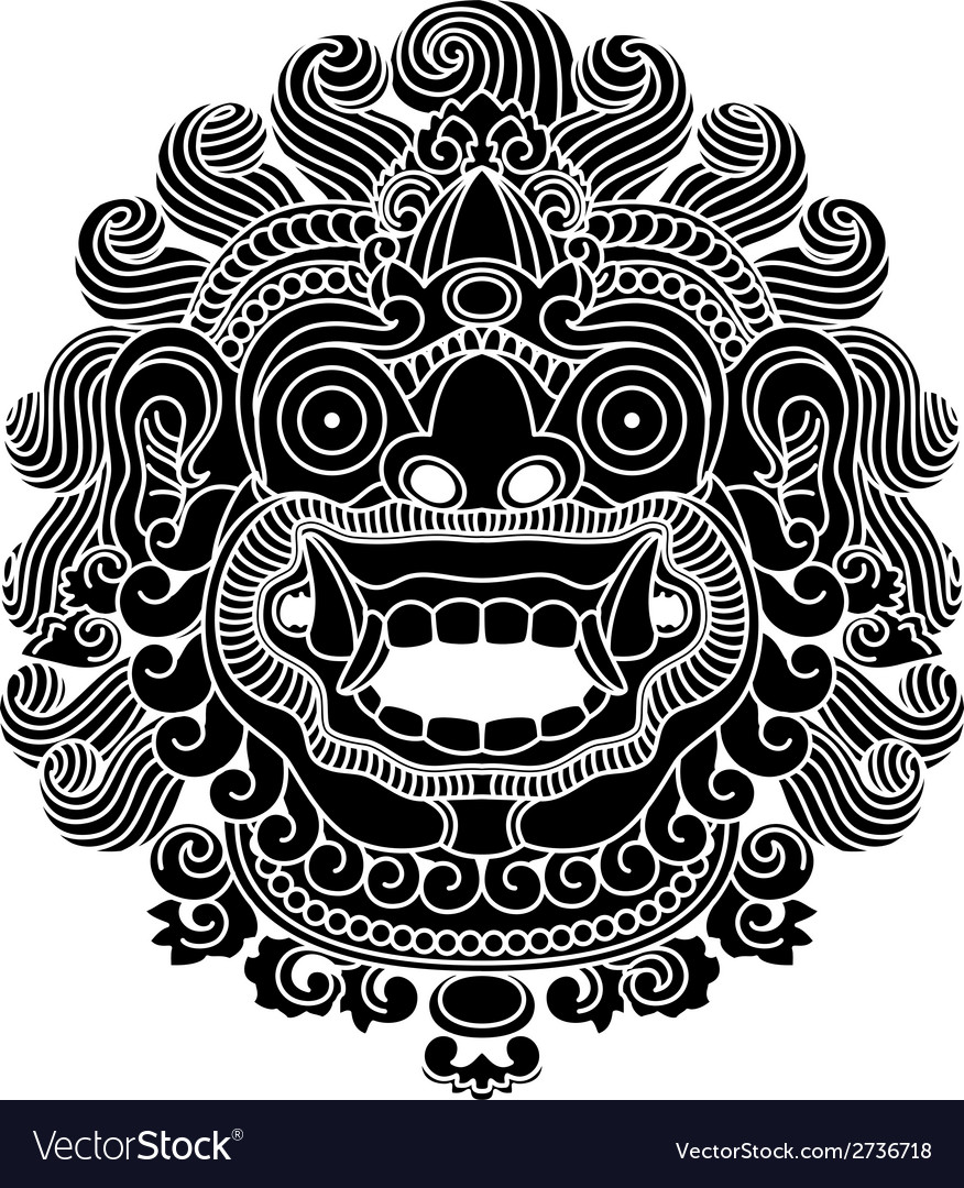 Mythological gods head indonesian traditional art vector | Price: 1 Credit (USD $1)