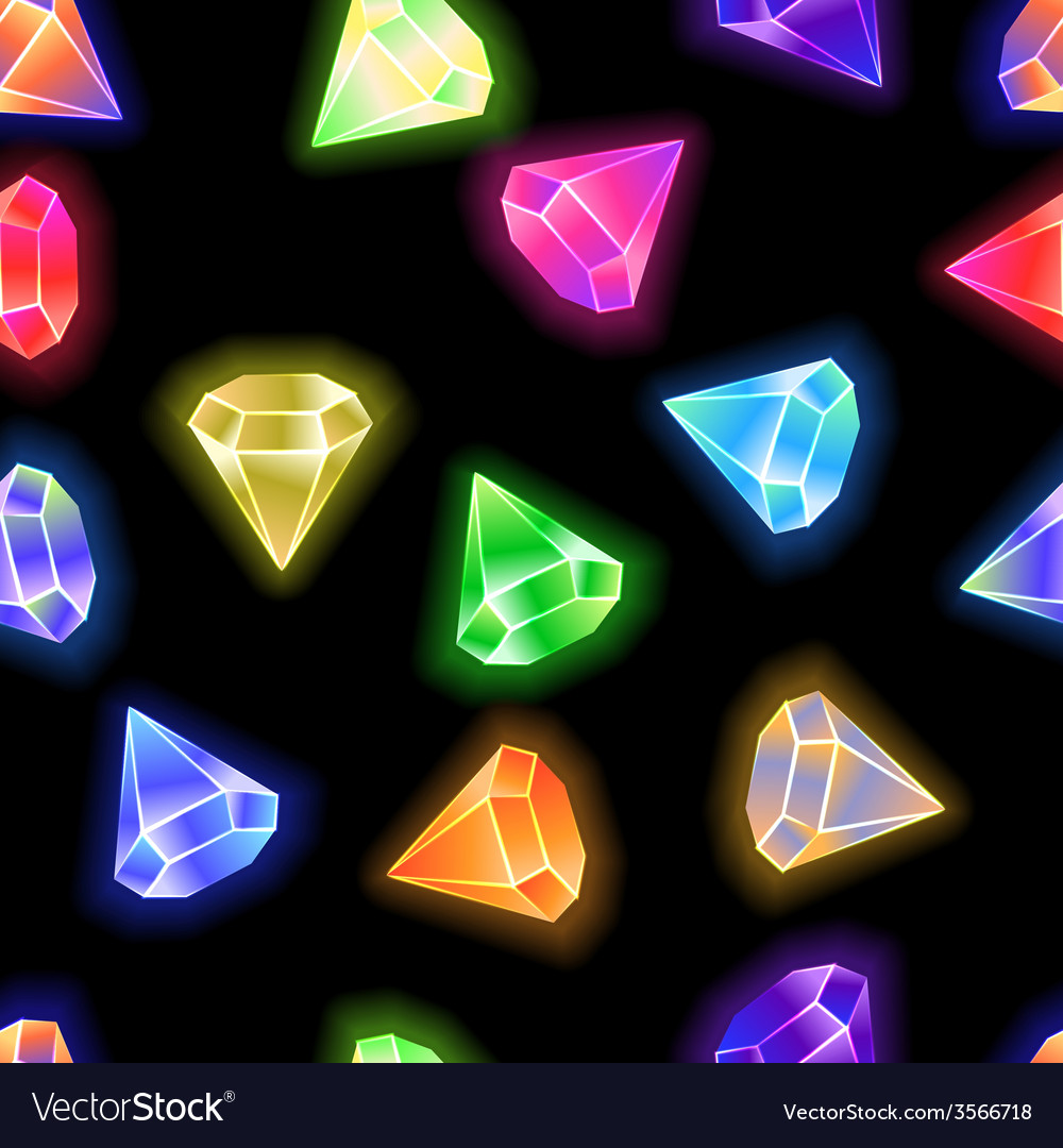 Seamless pattern background gems and diamonds vector | Price: 1 Credit (USD $1)