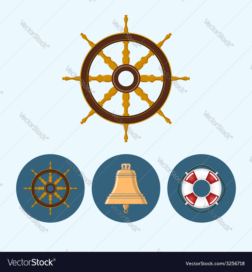 Set icons with bell lifebuoy  ship wheel vector | Price: 1 Credit (USD $1)