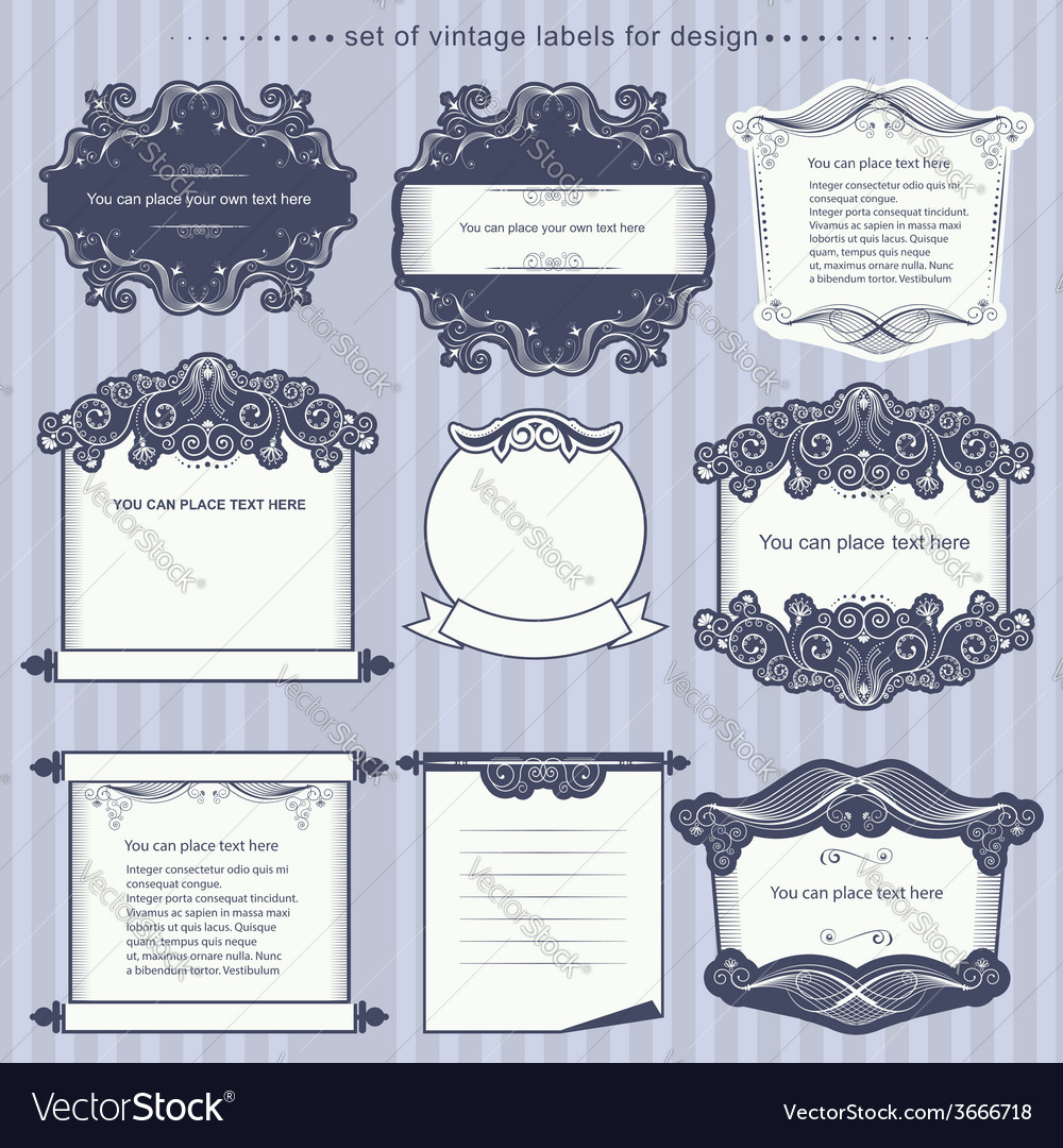 Set of calligraphic design frames vector | Price: 1 Credit (USD $1)