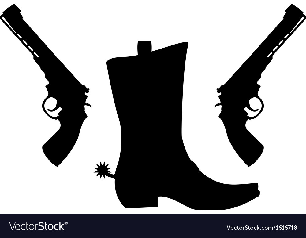 Silhouette of pistols and boot with spurs vector | Price: 1 Credit (USD $1)